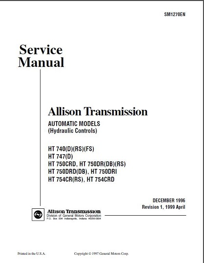 Allison Ht 740 Series Transmission Service Manual