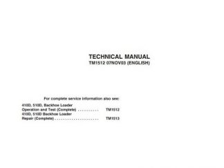 John Deere 410D 510D Backhoe Loaders Operation Technical Manual