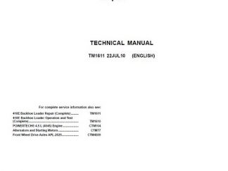 John Deere 410E Backhoe Loader Technical Manual