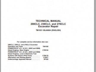 John Deere 200CLC, 230CLC, 270CLC Excavator Technical Manual