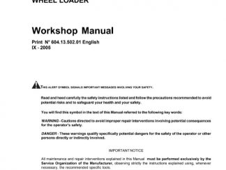 New Holland W190 Wheel Loader Service Repair Workshop Manual