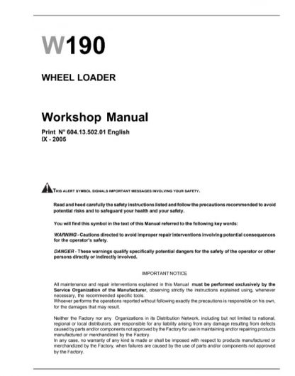 New Holland W190 Wheel Loader Service Repair Workshop Manual