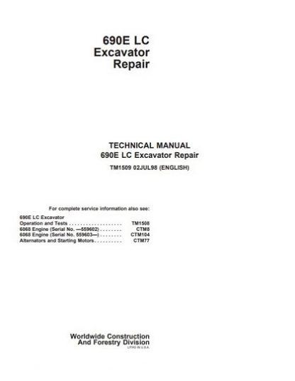 John Deere 690E LC Excavator Technical Repair Manual