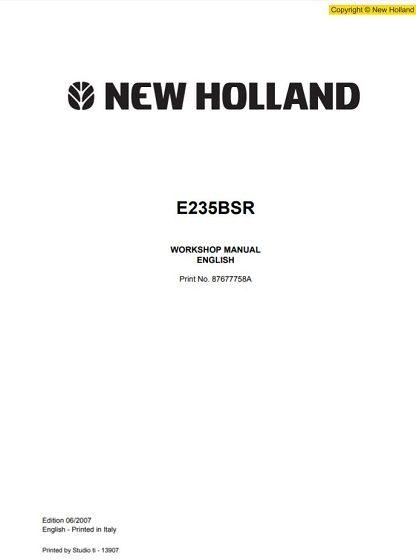 New Holland E235SR Excavator Service Repair Workshop Manual