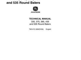 John Deere 335, 375, 385, 435 and 535 Round Balers Repair Technical Manual